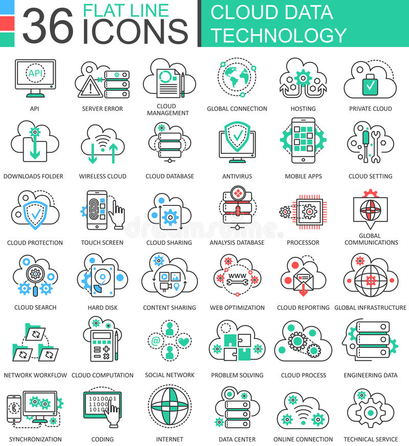 Vector Cloud data technology ultra modern color outline line icons for apps and web design. stock illustration