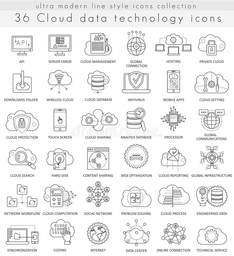 Vector Cloud data technology ultra modern outline line icons for web and apps. stock illustration