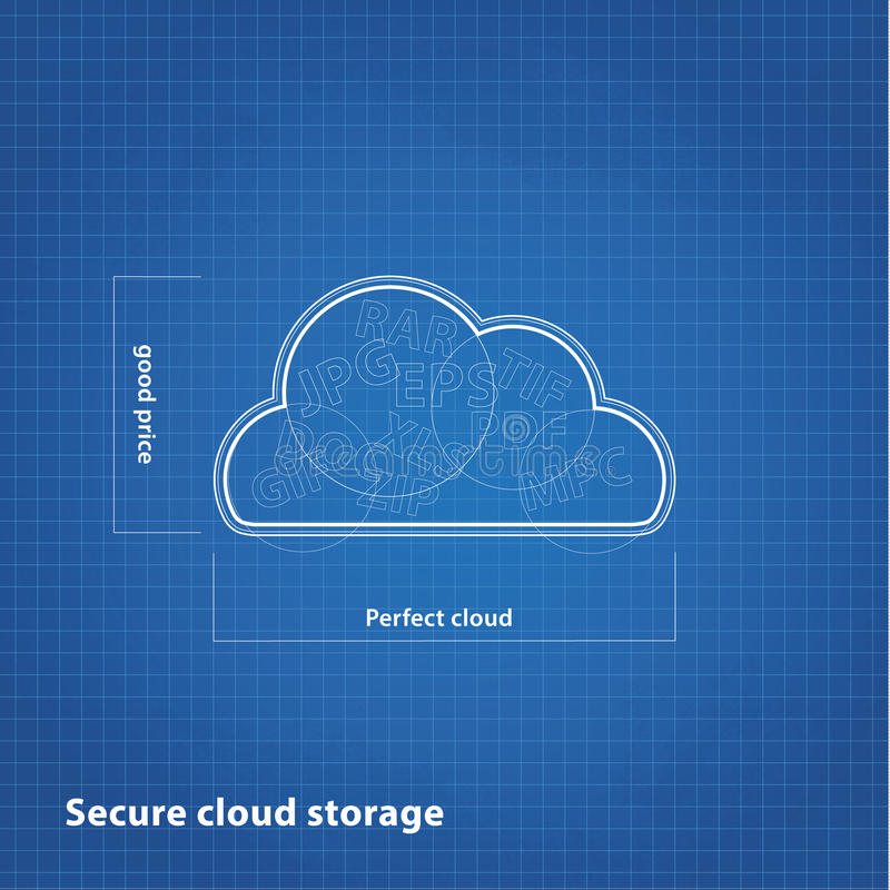 Vector cloud sketch with blueprint background. royalty free illustration