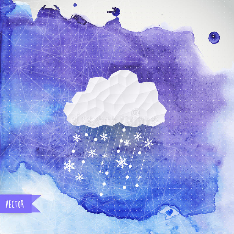 Vector cloud with snowfall on watercolor backdround, winter back. Ground. Retro background with snowfall cloud. Snowflake. Square composition with geometric royalty free illustration