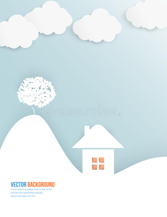 Vector cloud and tree. Abstract web vector. Vector cloud and tree. Abstract web design stock illustration