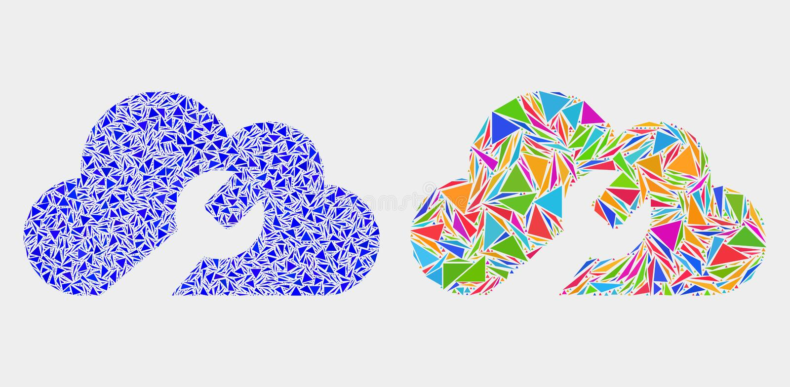Vector Cloud Wrench Mosaic Icon of Triangles vector illustration