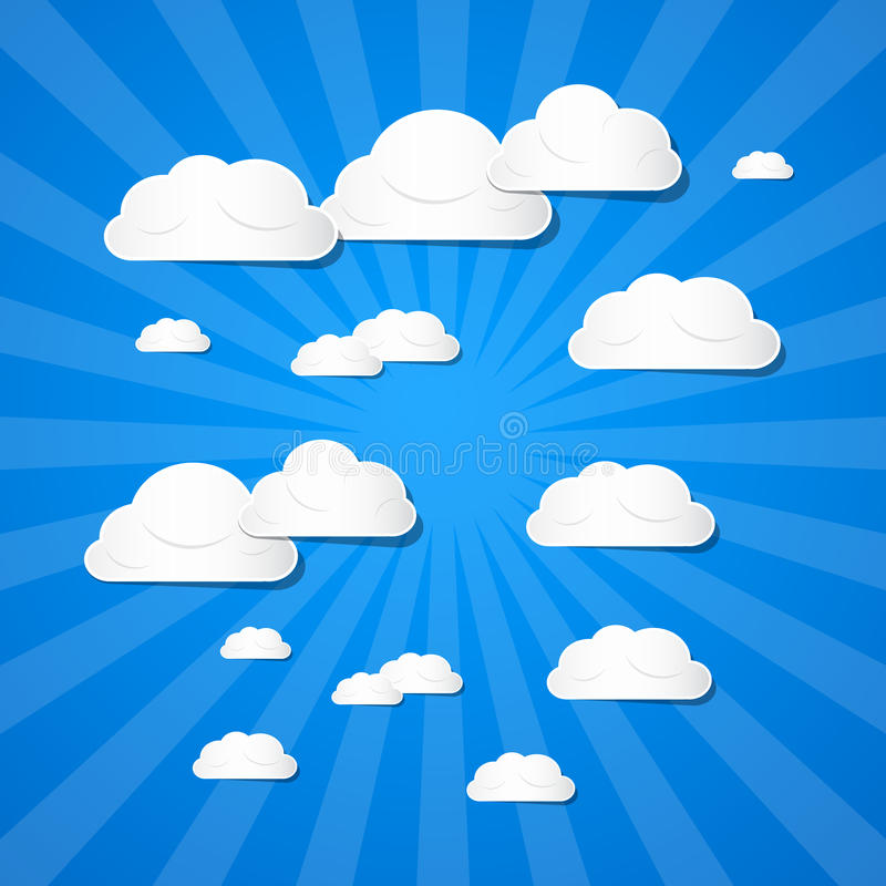 Vector Clouds on Blue Background stock illustration