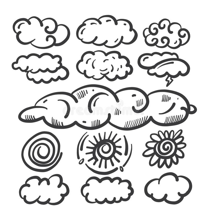 Vector clouds doodle collection set. Weather hand drawn forecast elements. Vector clouds doodle collection set. Weather hand drawn forecast elements on white stock illustration