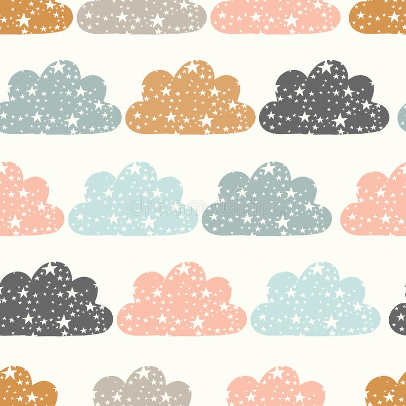 Vector clouds and stars cream seamless repeat pattern background stock illustration