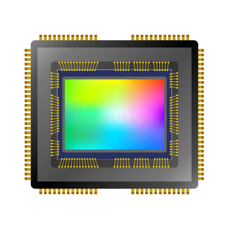 Vector cmos ccd image sensor. Digital camera cmos ccd image sensor isolated on white background vector illustration