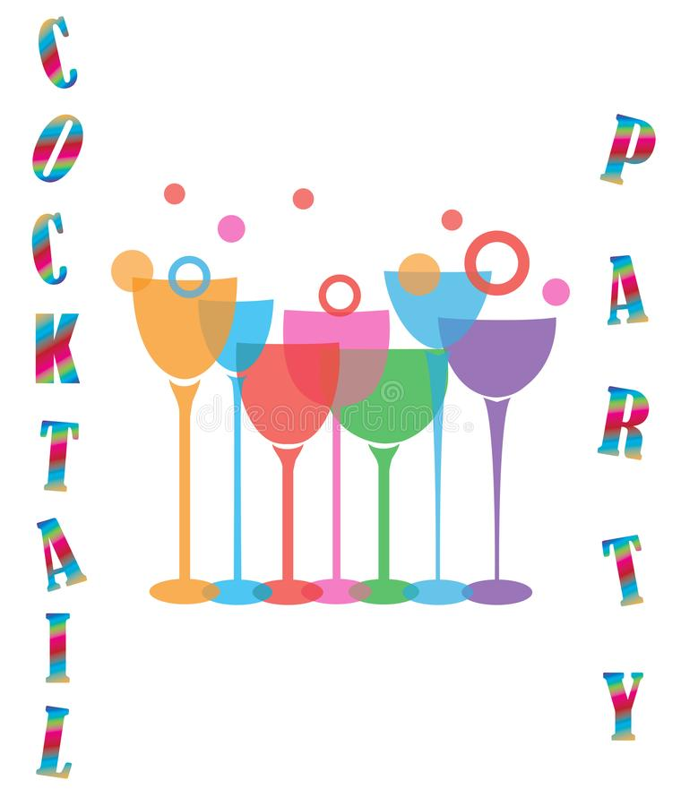 Vector Cocktail Party Wine Glasses stock illustration