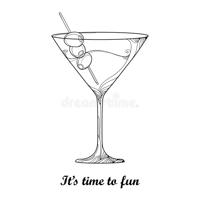 Vector cocktail in transparent martini glass with Olive fruit in black isolated on white background. Outline glass for winery. vector illustration