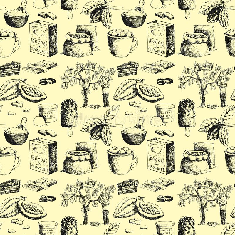 Vector cocoa products hand drawn sketch doodle seamless pattern background food chocolate sweet illustration. royalty free illustration