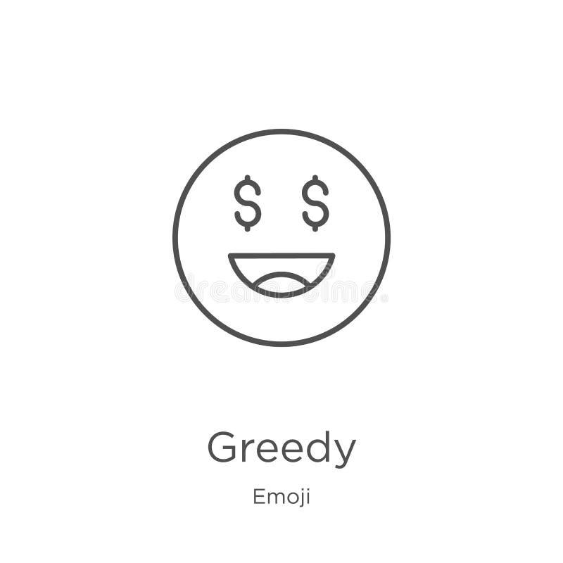 vector codicioso del icono de la colección del emoji Línea fina ejemplo codicioso del vector del icono del esquema Esquema, línea ilustración del vector