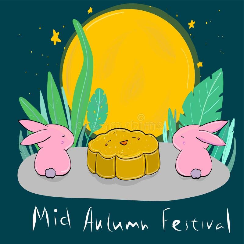 Vector coelhos da lua e cozinheiro de Autumn Festival meados de Estilo dos desenhos animados ilustração stock