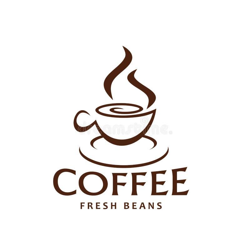 Vector coffe Schalen- und Dampfikone für Kaffeebohnen vektor abbildung