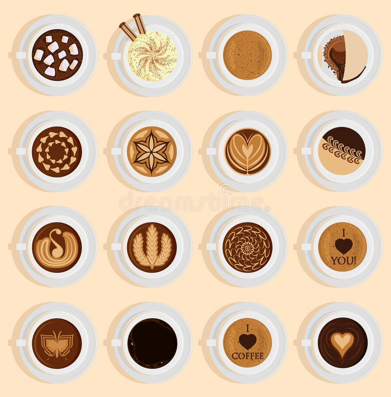 Vector coffe top view realistic drink different coffee recipe like cappuccino, chocolate, latte on cup blackboard stock illustration
