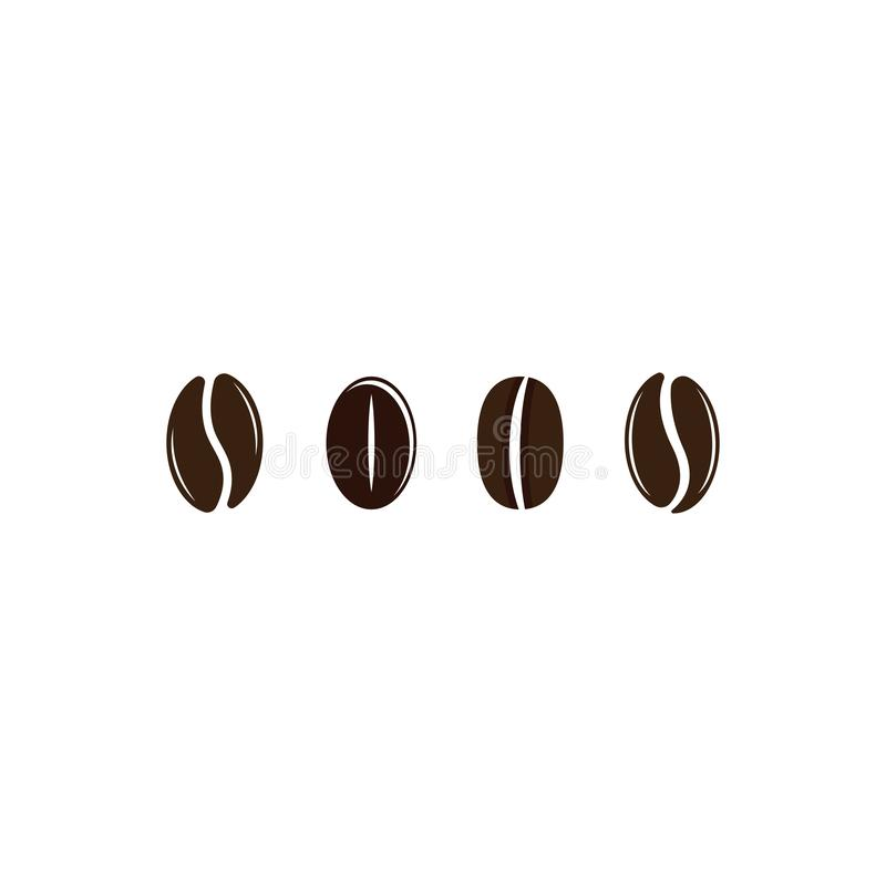 Vector coffee beans template vector icon illustration. Design, logo, symbol, element, shop, nature, background, isolated, food, natural, plant, white, organic royalty free illustration