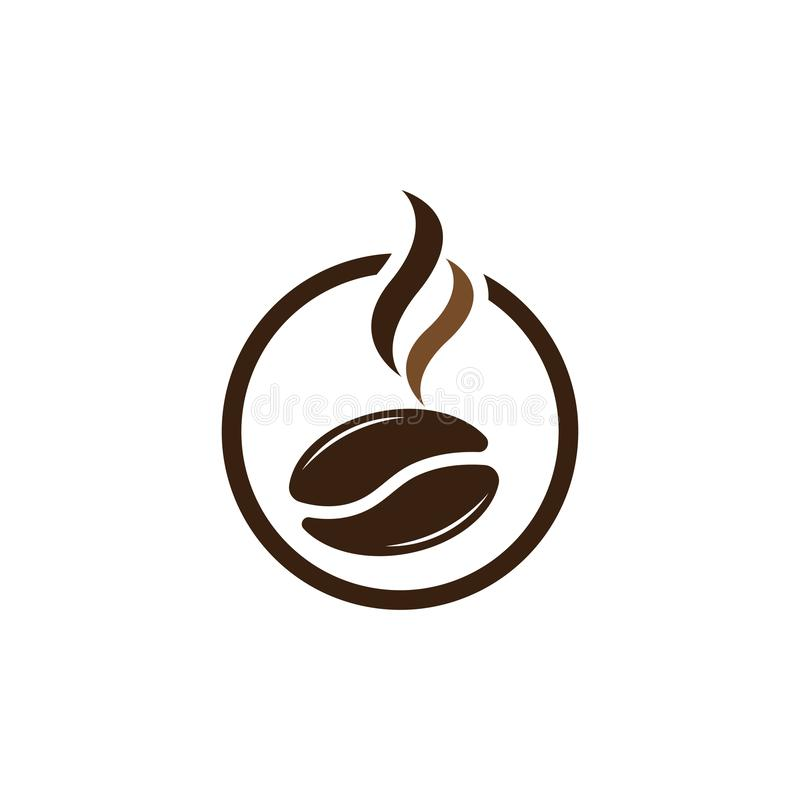 Vector coffee beans template vector icon illustration. Design, logo, symbol, element, shop, nature, background, isolated, food, natural, plant, white, organic stock illustration