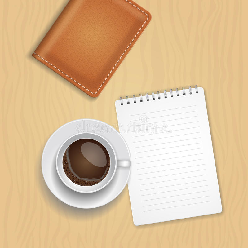 Vector coffee cup and blank notepad on wood background. vector illustration