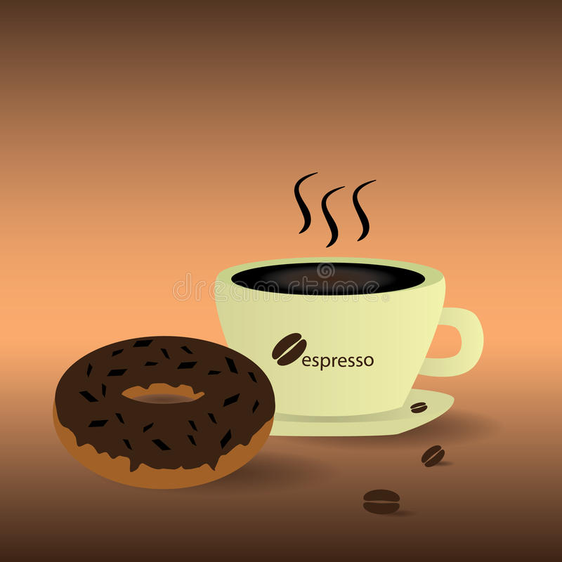 Vector coffee and donut eps10 royalty free stock image