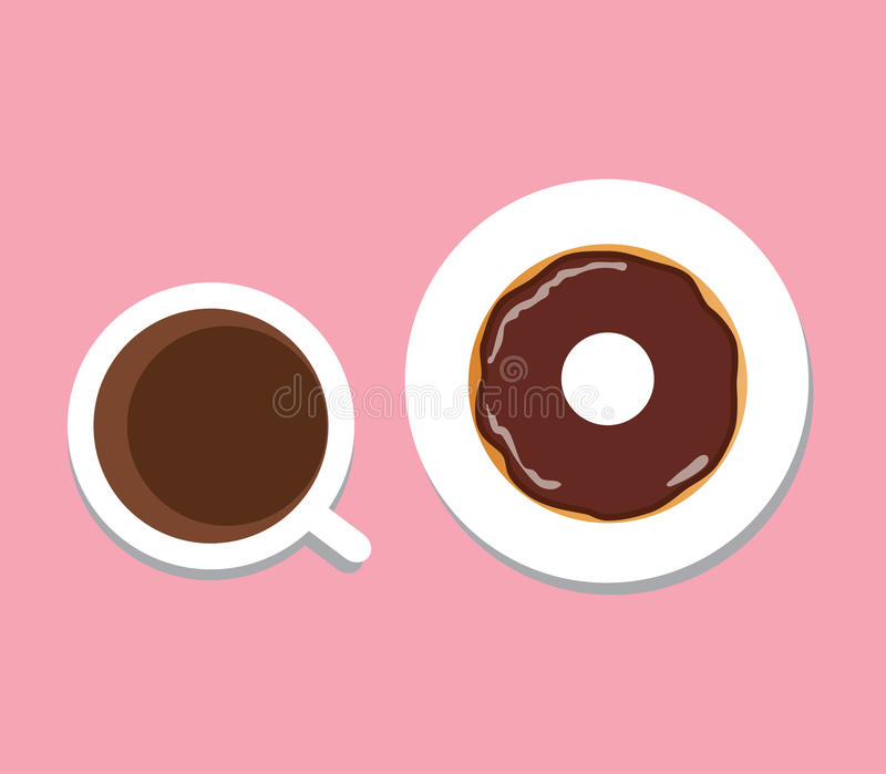 Vector coffee and donut stock illustration