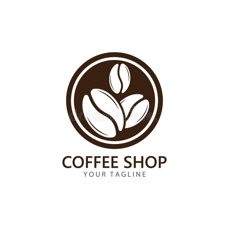 Vector coffee logo template vector icon illustration. Design, bean, beans, symbol, element, shop, nature, background, isolated, food, natural, plant, white royalty free illustration