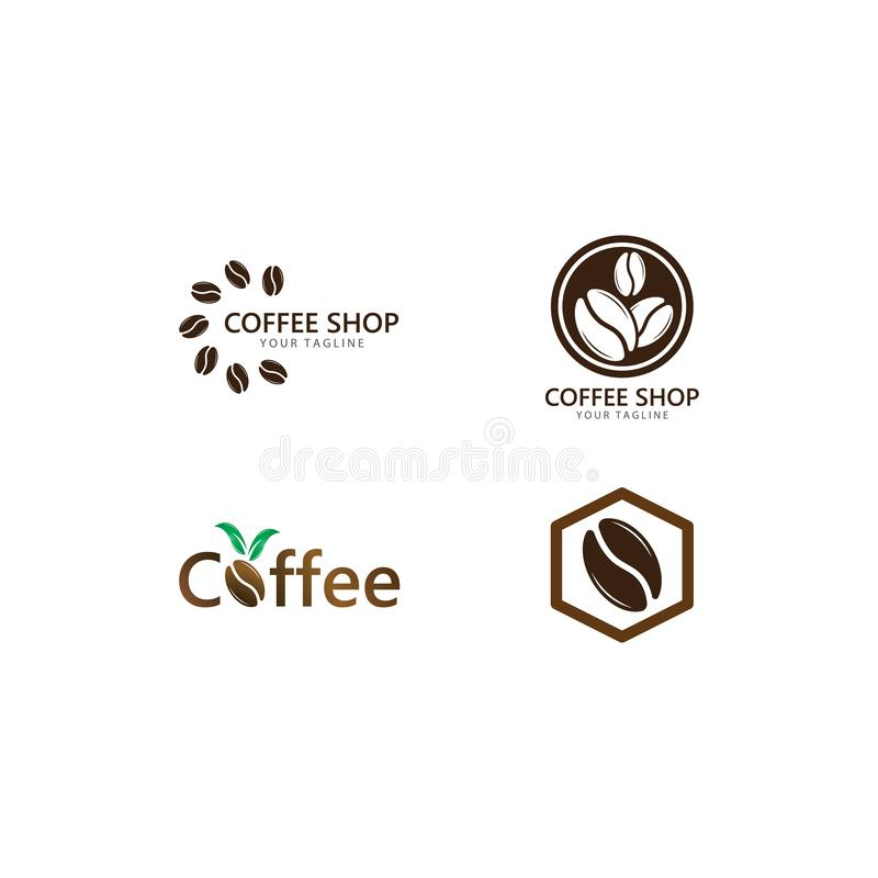 Vector coffee logo template vector icon illustration. Design, bean, beans, symbol, element, shop, nature, background, isolated, food, natural, plant, white vector illustration