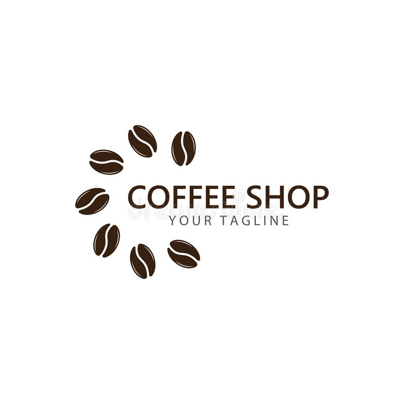 Vector coffee logo template vector icon illustration. Design, bean, beans, symbol, element, shop, nature, background, isolated, food, natural, plant, white stock illustration