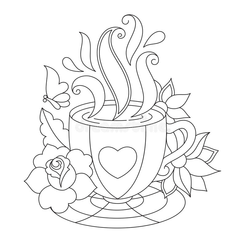 Tea Coffee Equipment In Black And White Vector Art