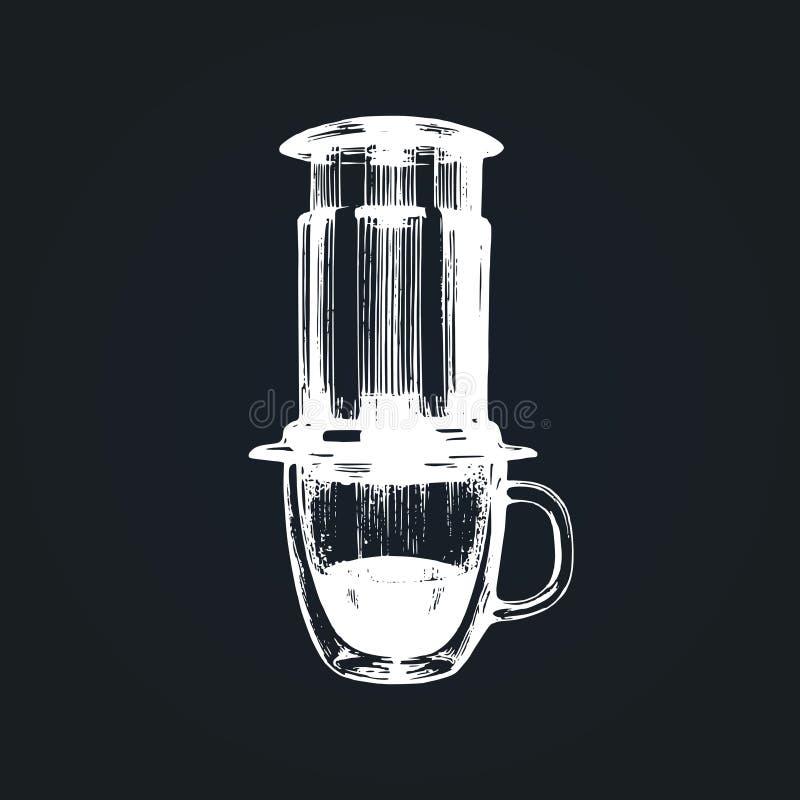 Vector coffeemaker illustration.Hand sketched device for alternative coffee brewing method. Cafe,restaurant menu design. royalty free illustration