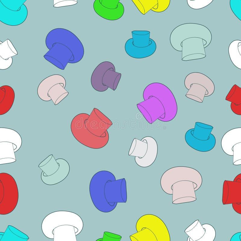Vector cogumelos de cores diferentes contra o fundo claro, teste padrão quadrado sem emenda ilustração stock