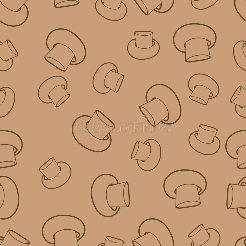 Vector cogumelos lineares contra o fundo bege, teste padrão quadrado sem emenda ilustração royalty free