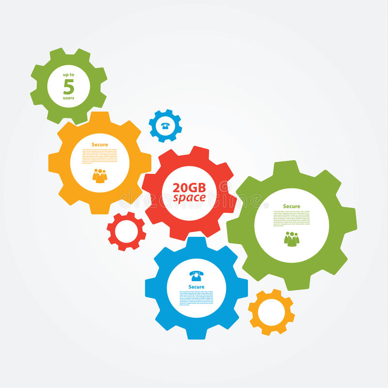 Vector cogwheel template. Cogwheel connection, teamwork. royalty free illustration