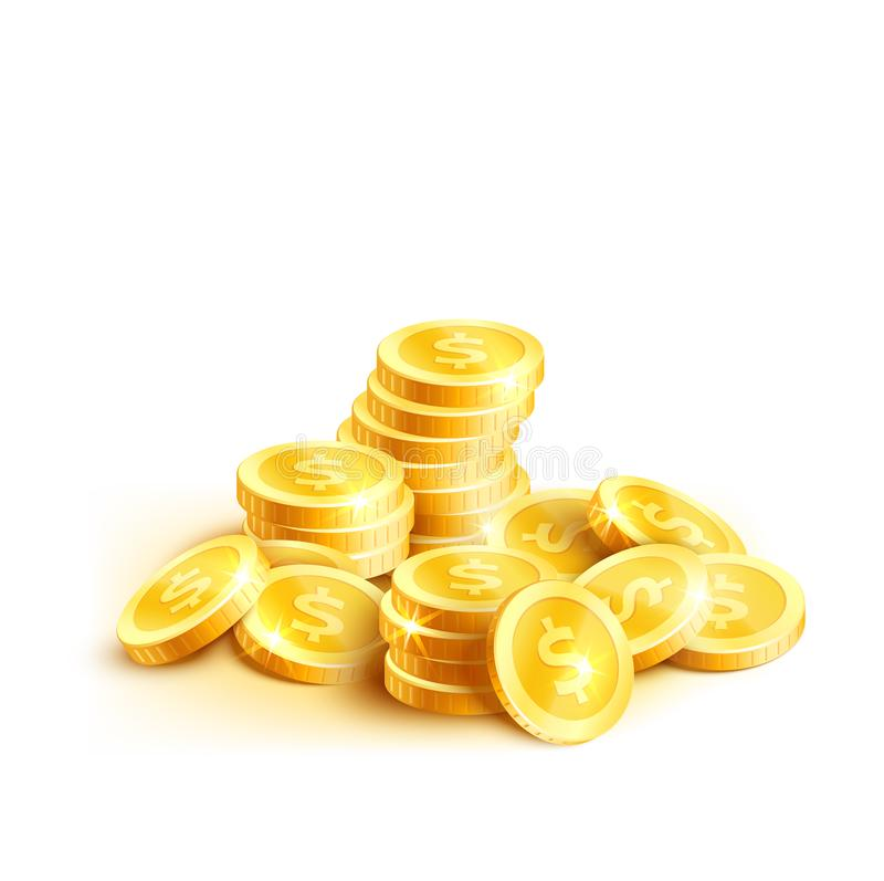 Vector coins icon of golden dollar coin cent pile. Golden coins or gold cent coin pile icon. Vector isolated symbol of golden dollar coins money stack placer for stock illustration