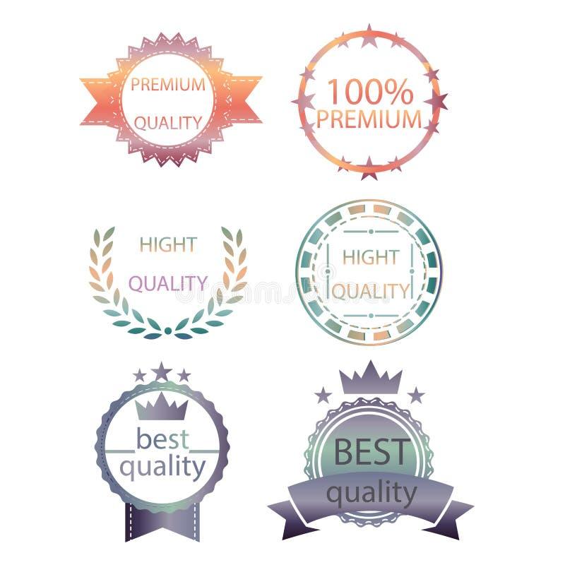 Vector a coleção da qualidade superior e garanta o projeto retro do estilo do vintage das etiquetas altura ajustada dos crachás d ilustração stock