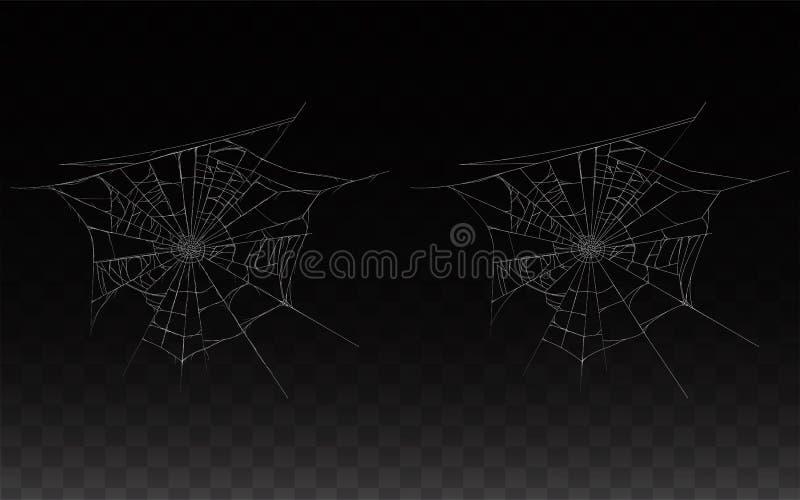 Vector a coleção da teia de aranha realística, Web de aranha ilustração do vetor