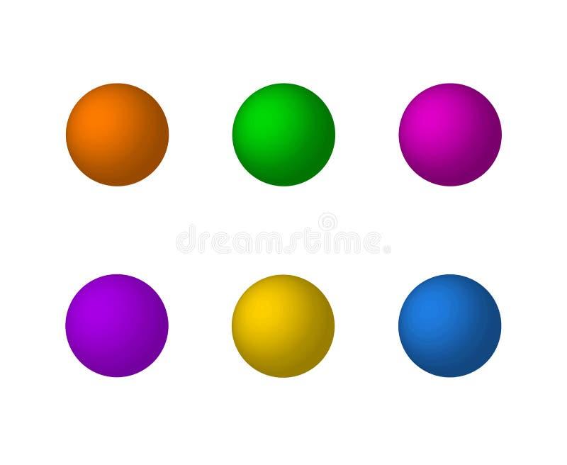 Vector a coleção das esferas 3D, Matte Balls Set, ícones isolados ilustração stock