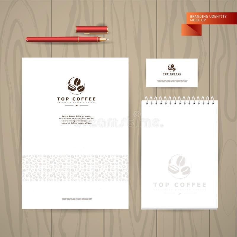 Vector a coleção de cartões artísticos com emblemas & logotipo do café, feijões & sementes tiradas mão de café, texturas & testes ilustração royalty free