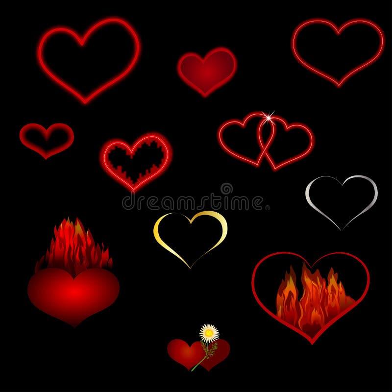 Vector a coleção de corações vermelhos de formas diferentes em um fundo preto ilustração stock