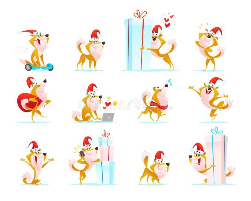 Vector a coleção de emoticons engraçados do cão no chapéu de Santa isolado no fundo branco ilustração do vetor