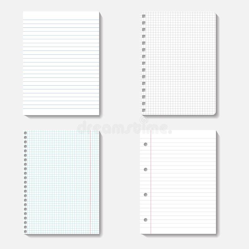 Vector a coleção de folhas da nota no fundo branco ilustração do vetor