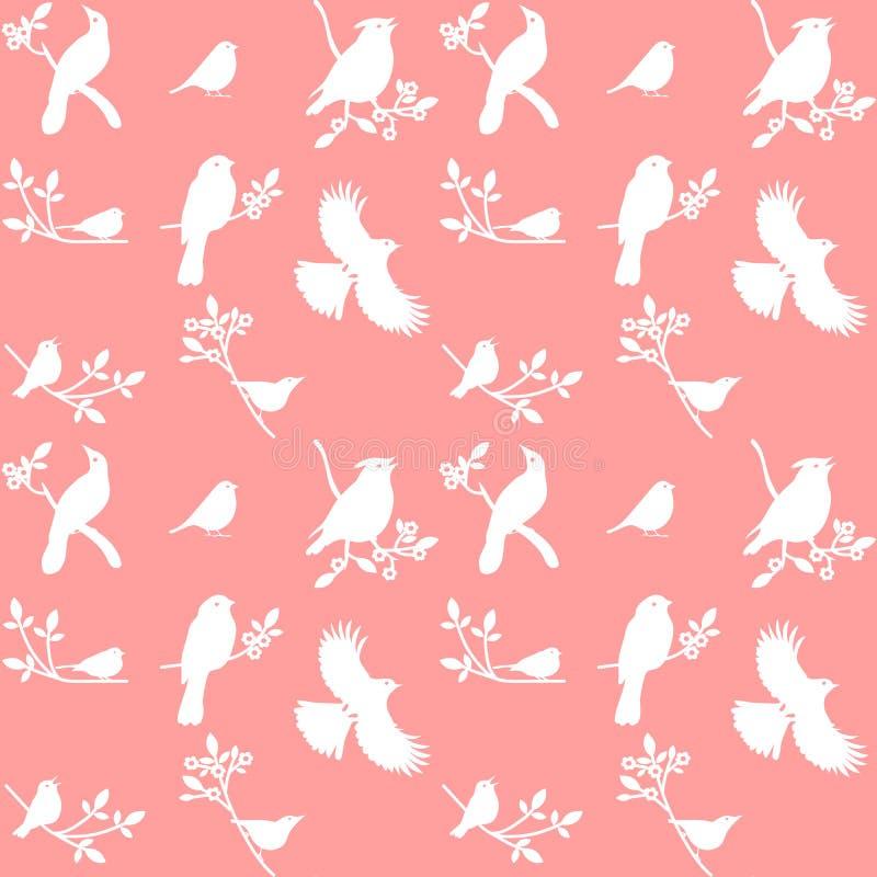 Vector a coleção de silhuetas do pássaro em um fundo cor-de-rosa ilustração stock