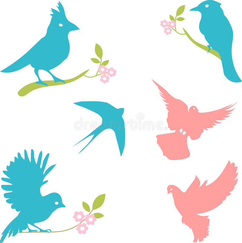Vector a coleção de silhuetas do pássaro, silhuetas coloridas ilustração do vetor