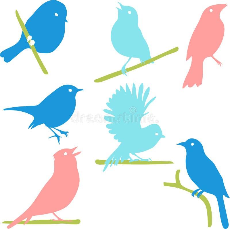 Vector a coleção de silhuetas do pássaro, silhuetas coloridas ilustração stock
