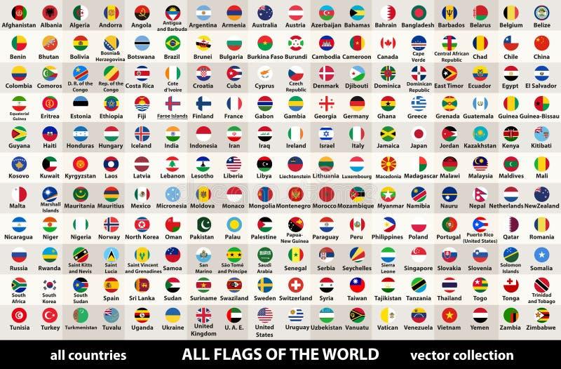 Vector a coleção de todas as bandeiras do mundo no projeto circular, arranjadas em ordem alfabética, com cores originais e o deta ilustração do vetor