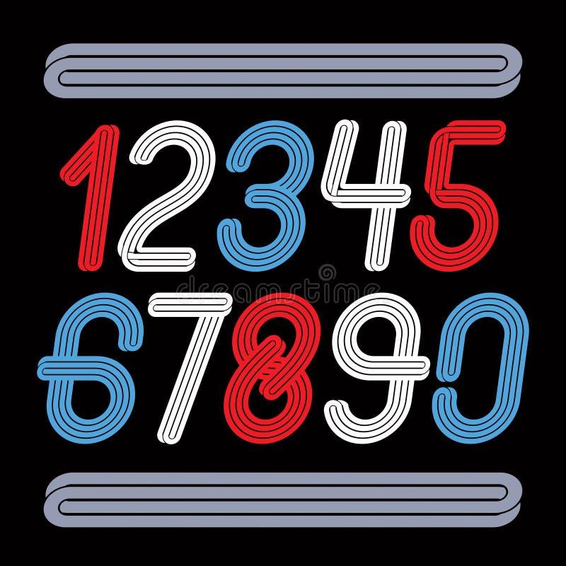 Vector a coleção elegante funky dos números arredondados feita com parall ilustração stock