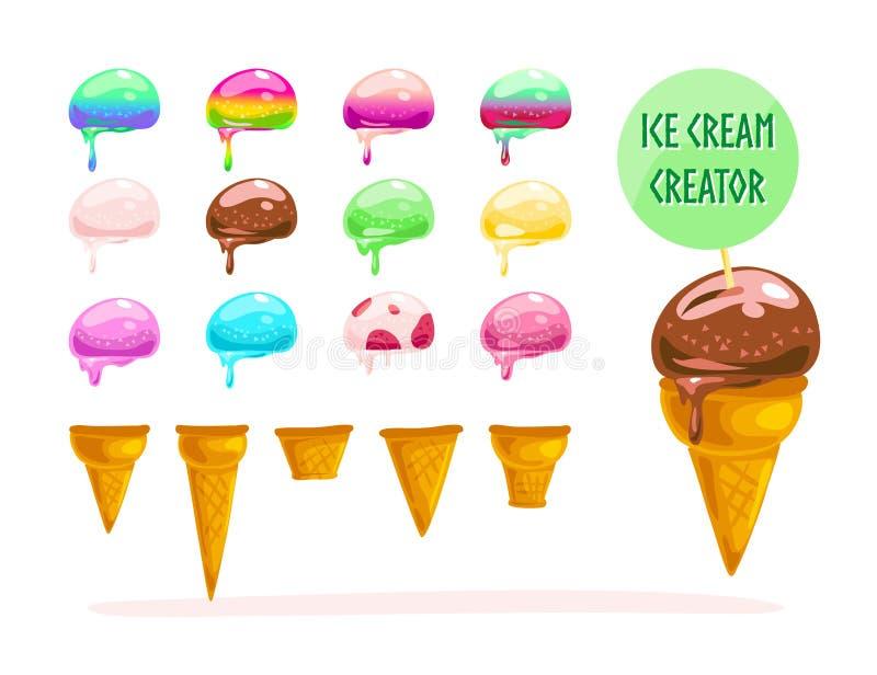 Vector a coleção lisa de elementos coloridos doces saborosos dos cones de gelado ilustração do vetor