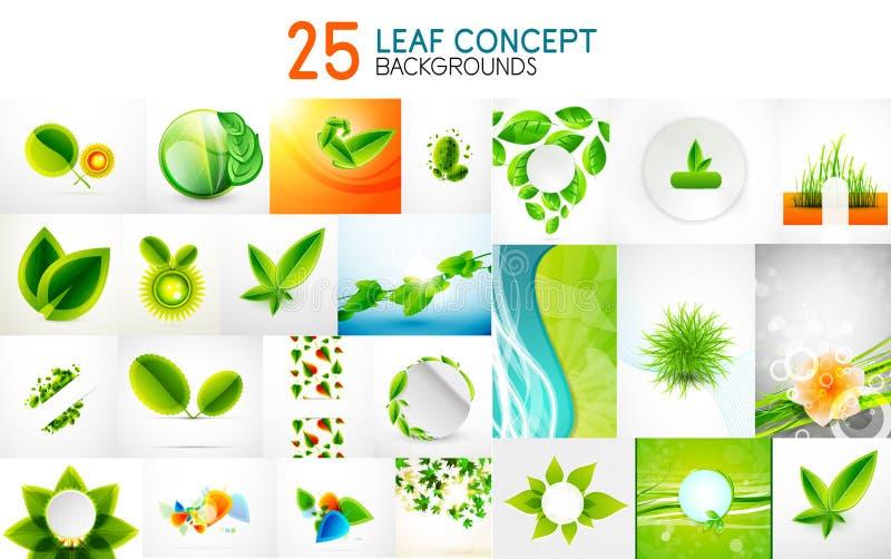 Vector a coleção mega de conceitos, de ícones da folha, do verão e de ideias verdes da mola ilustração stock