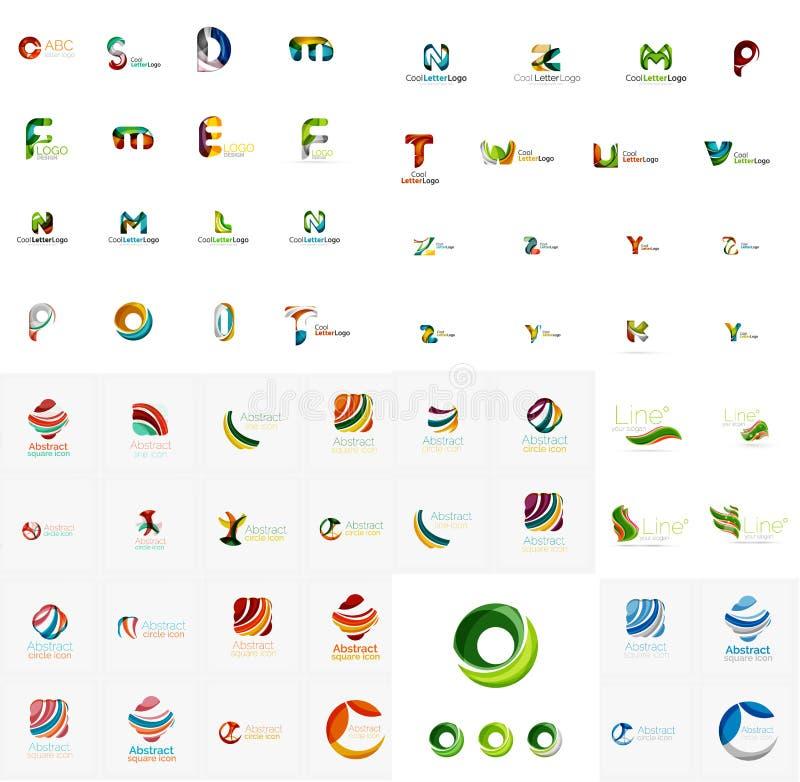 Vector a coleção mega do logotipo abstrato da empresa, datilografe-a ilustração do vetor