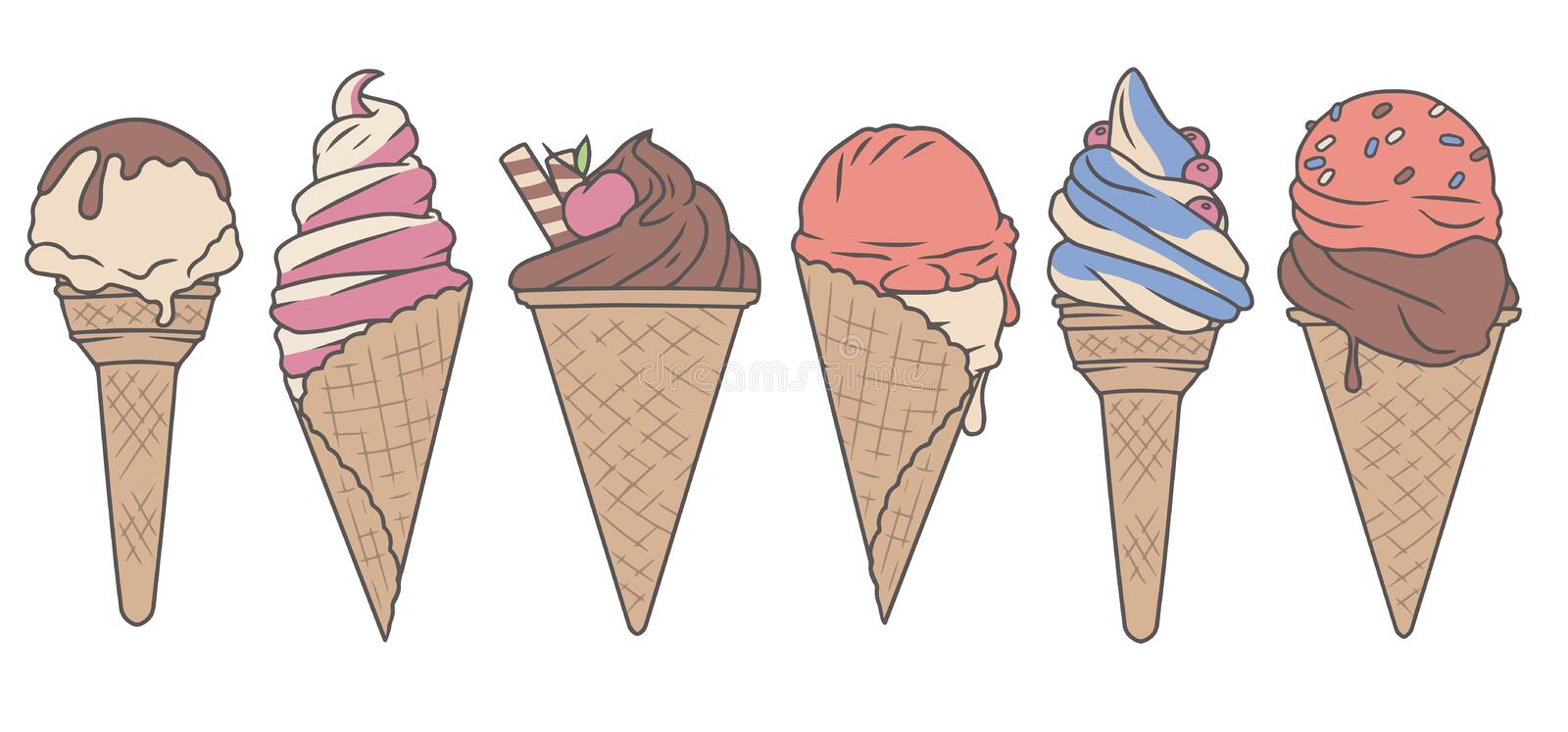 Vector colection set with cute delicious looking cartoon ice cream cones royalty free illustration