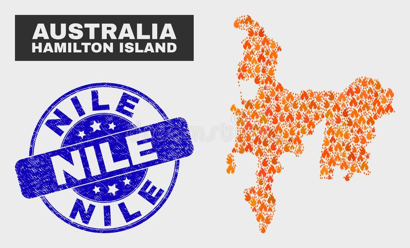 Burn Mosaic Hamilton Island Map and Scratched Nile Seal. Vector collage of fire Hamilton Island map and blue round scratched Nile seal stamp. Orange Hamilton vector illustration