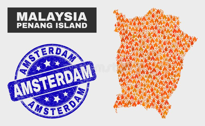 Fire Mosaic Penang Island Map and Grunge Amsterdam Watermark. Vector collage of fire Penang Island map and blue round textured Amsterdam seal. Fiery Penang royalty free illustration