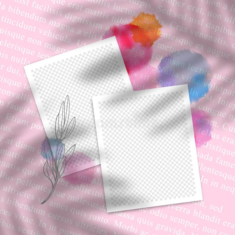 Vector Collage with Photo Frames with Decorative Elements. Watercolor Blots, Photo and Palm Leaves Shadow Overlay. Vector Collage with Template Photo Frames with stock illustration